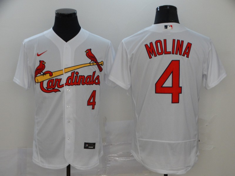 Men's St. Louis Cardinals #4 Yadier Molina White Flex Base Stitched MLB Jersey