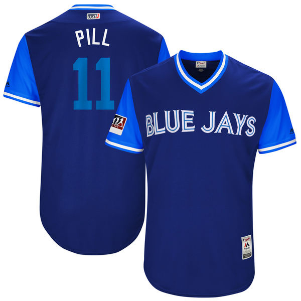 "Men's Toronto Blue Jays Kevin Pillar ""Pill"" Majestic Light Blue/Royal 2017 Little League World Series Players Weekend Classic Jersey"