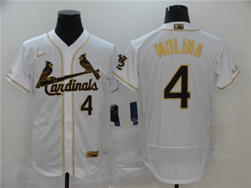 Men's St. Louis Cardinals #4 Yadier Molina White Golden Flex Base Stitched MLB Jersey