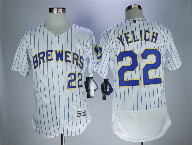 Men's Milwaukee Brewers #22 Christian Yelich White Flexbase Stitched MLB Jersey