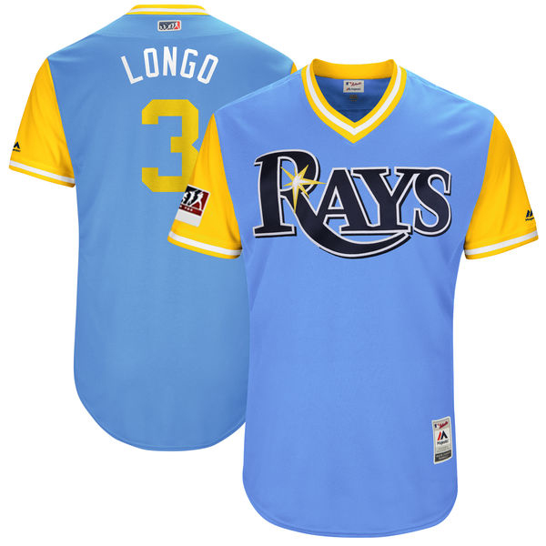 "Men's Tampa Bay Rays Evan Longoria ""Longo"" Majestic Light Blue/Yellow 2017 Little League World Series Players Weekend Classic Jersey"