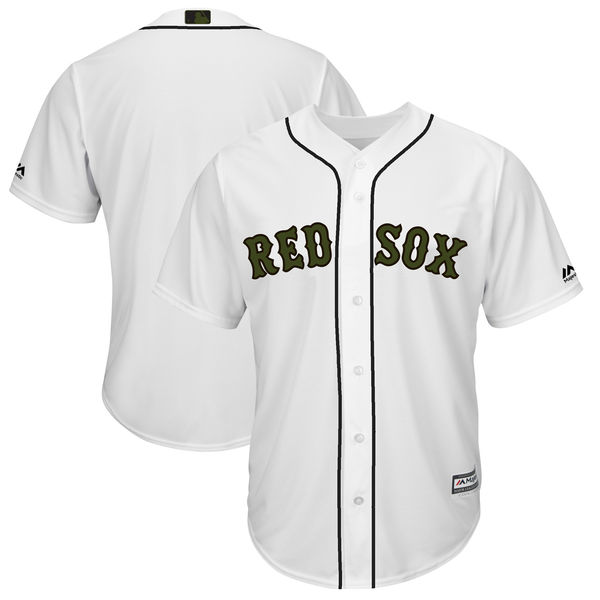 Men's Boston Red Sox Blank White 2018 Memorial Day Cool Base Stitched MLB Jersey