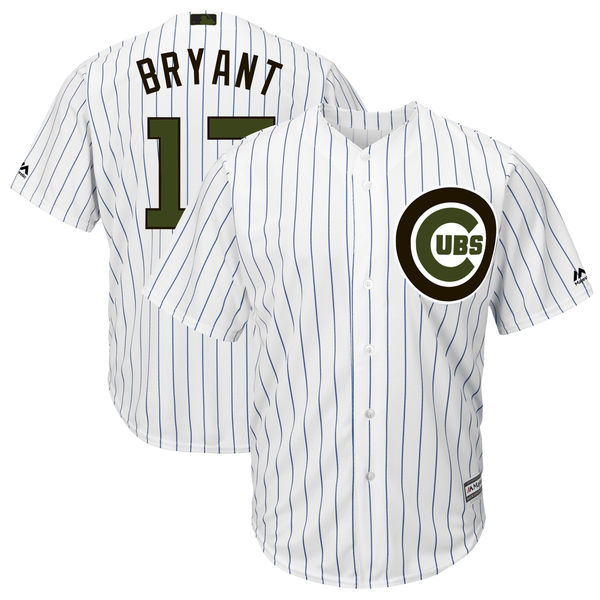 Men's Chicago Cubs #17 Kris Bryant White 2018 Memorial Day Cool Base Stitched MLB Jersey