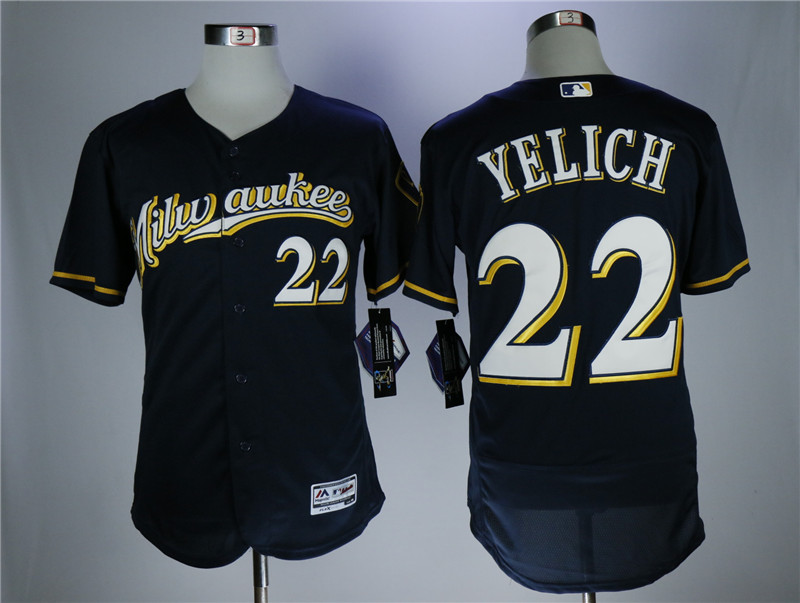 Men's Milwaukee Brewers #22 Christian Yelich Navy Flexbase Stitched MLB Jersey