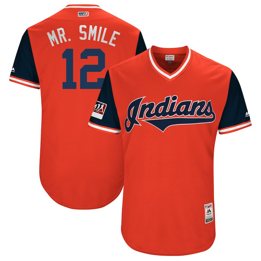 "Men's Cleveland Indians Francisco Lindor ""Mr. Smile"" Majestic Red/Navy 2018 Players' Weekend Jersey"