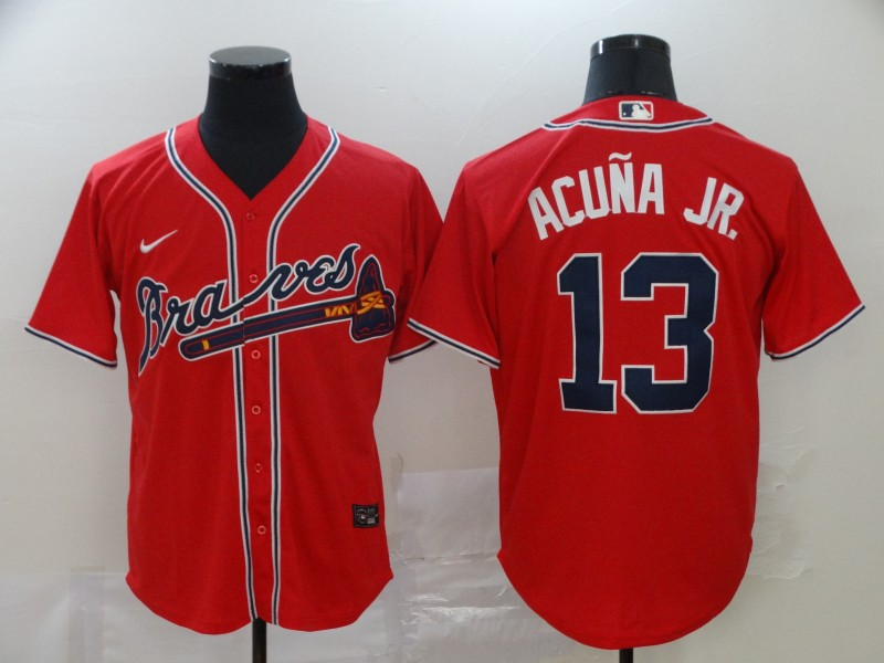Men's Atlanta Braves #13 Ronald Acuña Jr Red Cool Base Stitched MLB Jersey