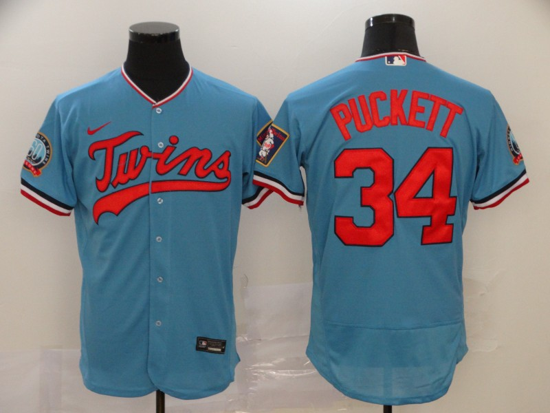 Men's Minnesota Twins #34 Kirby Puckett Blue Flex Base Stitched MLB Jersey