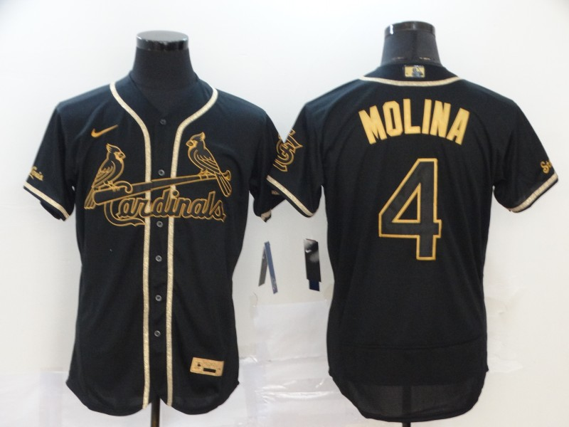 Men's St. Louis Cardinals #4 Yadier Molina Black Golden Flex Base Stitched MLB Jersey