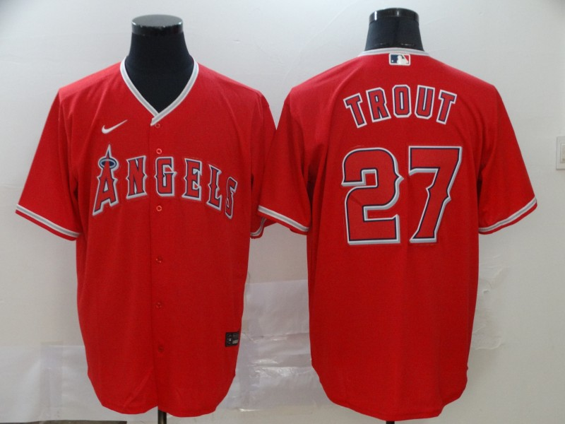 Men's Los Angeles Angels #27 Mike Trout 2020 Red Cool Base Stitched MLB Jersey