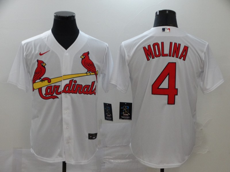 Men's St. Louis Cardinals #4 Yadier Molina White Cool Base Stitched MLB Jersey