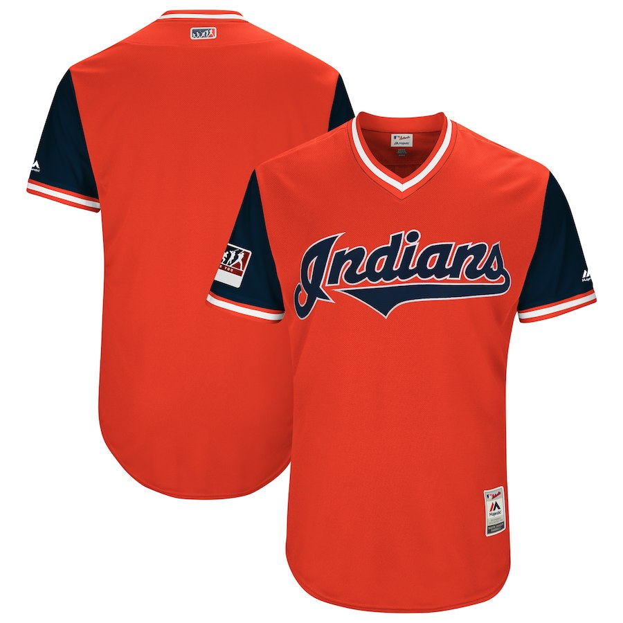 Men's Cleveland Indians Majestic Red/Navy 2018 Players' Weekend Team Jersey
