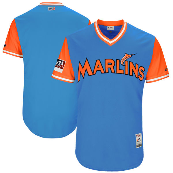 Men's Miami Marlins Majestic Light Blue/Orange 2018 Players' Weekend Team Jersey