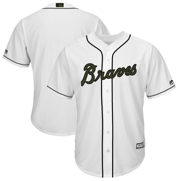 Men's Atlanta Braves Blank White 2018 Memorial Day Cool Base Stitched MLB Jersey