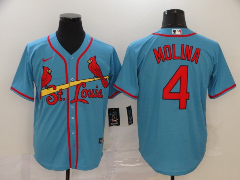 Men's St. Louis Cardinals #4 Yadier Molina Blue Cool Base Stitched MLB Jersey