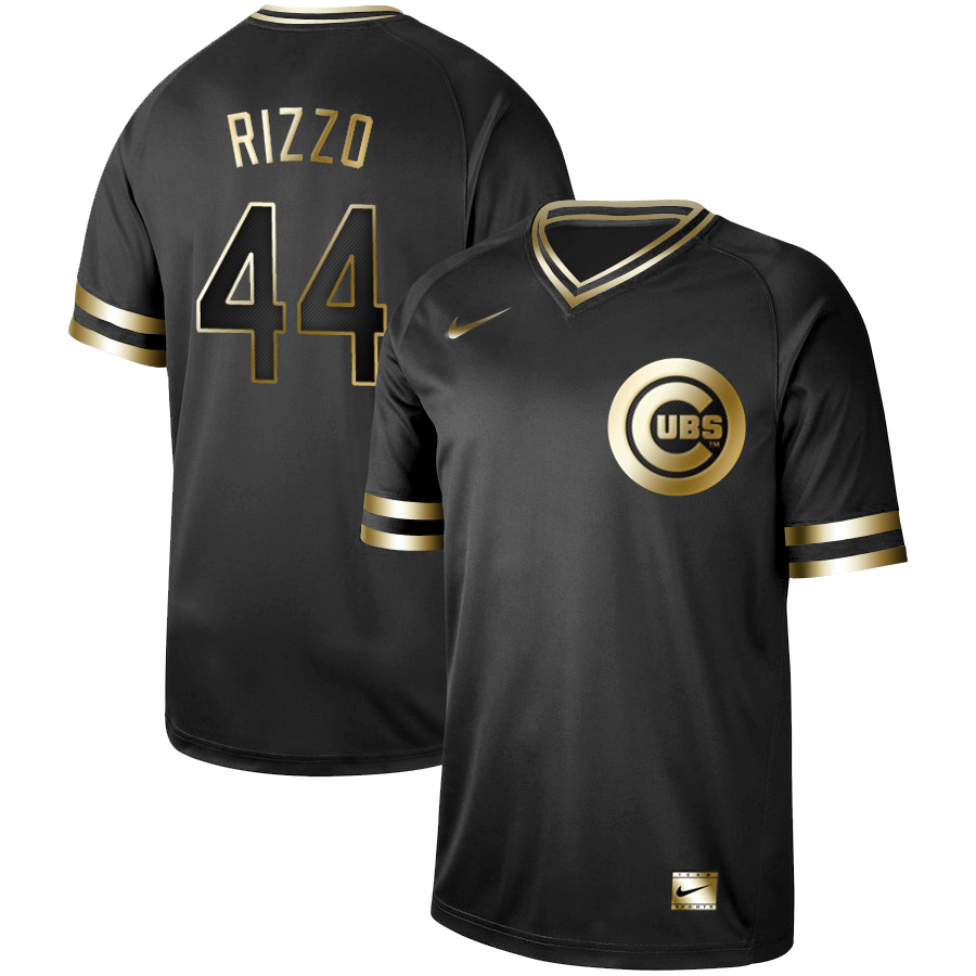 Men's Chicago Cubs #44 Anthony Rizzo Black Gold Stitched MLB Jersey