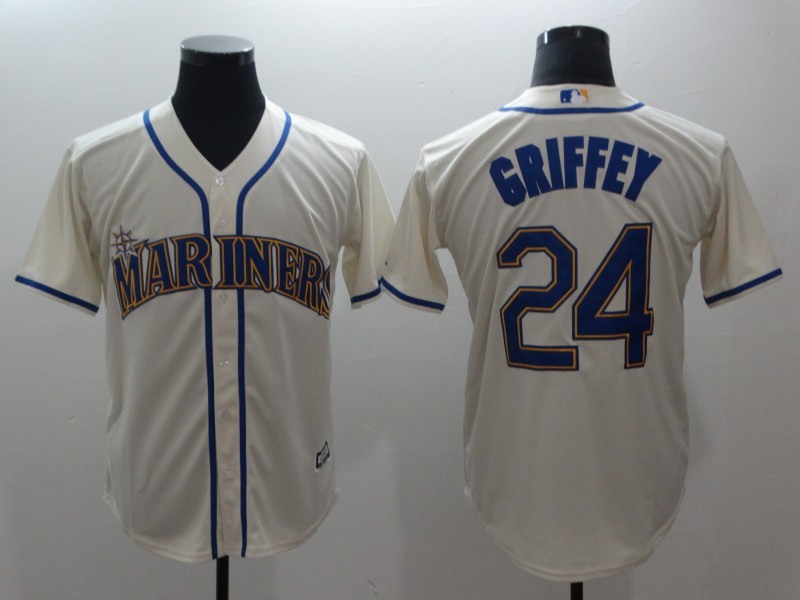 Men's MLB Seattle Mariners #24 Ken Griffey Jr.Cream Alternate Cool Base Stitched MLB Jersey