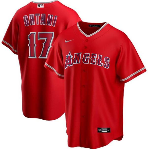 Men's Los Angeles Angels Red #17 Shohei Ohtani Cool Base Stitched MLB Jersey