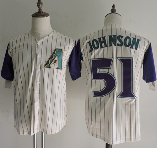 Mitchell And Ness Diamondbacks #51 Randy Johnson Cream Strip Throwback Stitched MLB Jersey