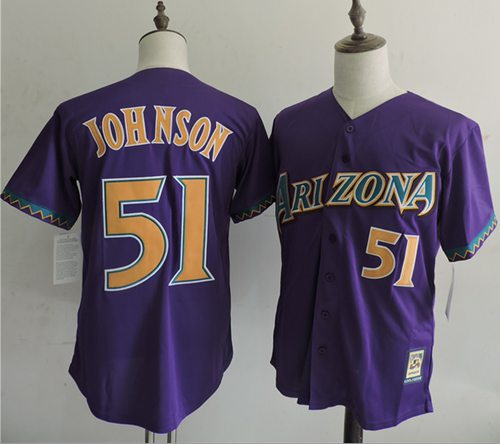 Mitchell And Ness Diamondbacks #51 Randy Johnson Purple Throwback Stitched MLB Jersey