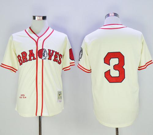 Mitchell and Ness Braves #3 Babe Ruth Stitched Cream Throwback MLB Jersey