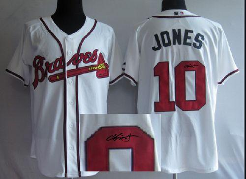 Braves #10 Chipper Jones White Cool Base Autographed Stitched MLB Jersey