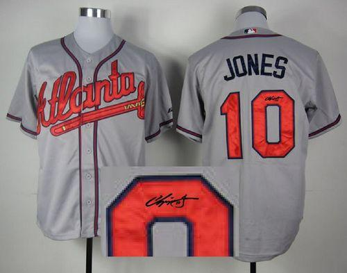 Braves #10 Chipper Jones Grey Cool Base Autographed Stitched MLB Jersey