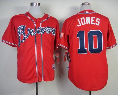 Braves #10 Chipper Jones Red Stitched MLB Jersey