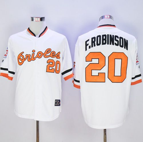 Mitchell And Ness Orioles #20 Frank Robinson White Stitched MLB Jersey