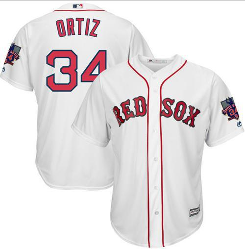 Red Sox #34 David Ortiz White New Cool Base with Retirement Patch Stitched MLB Jersey