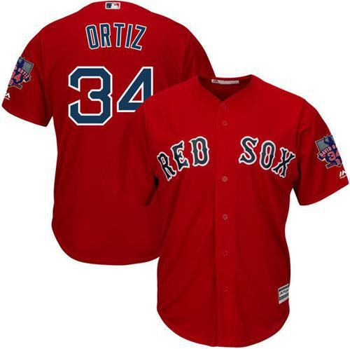 Red Sox #34 David Ortiz Red New Cool Base with Retirement Patch Stitched MLB Jersey
