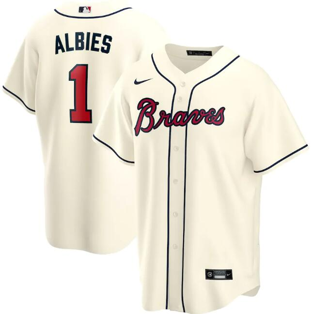 Men's Atlanta Braves Cream #1 Ozzie Albies Cool Base Stitched MLB Jersey