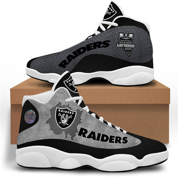 Women's Las Vegas Raiders AJ13 Series High Top Leather Sneakers 001