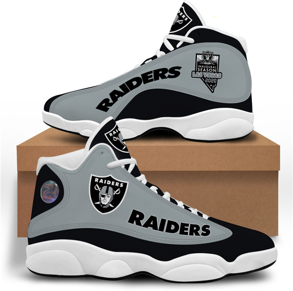 Women's Las Vegas Raiders AJ13 Series High Top Leather Sneakers 002