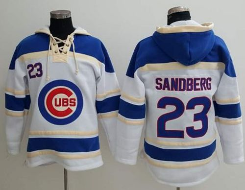Cubs #23 Ryne Sandberg White Sawyer Hooded Sweatshirt MLB Hoodie