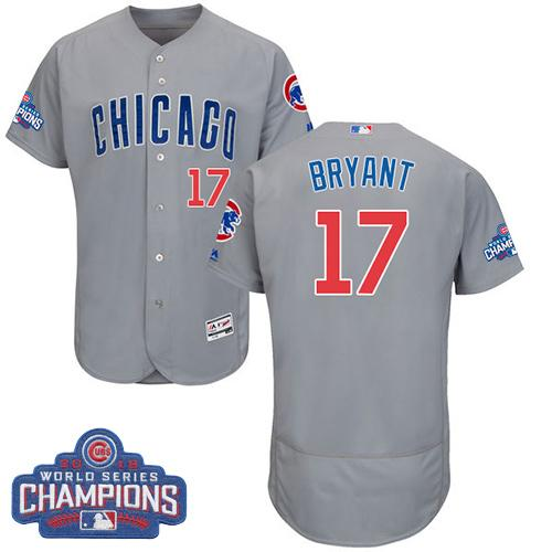 Cubs #17 Kris Bryant Grey Flexbase Authentic Collection Road 2016 World Series Champions Stitched MLB Jersey