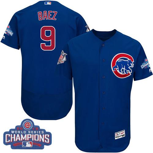 Cubs #9 Javier Baez Blue Flexbase Authentic Collection 2016 World Series Champions Stitched MLB Jersey