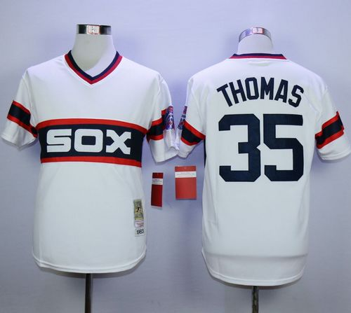 Mitchell And Ness 1983 White Sox #35 Frank Thomas White Throwback Stitched MLB Jersey