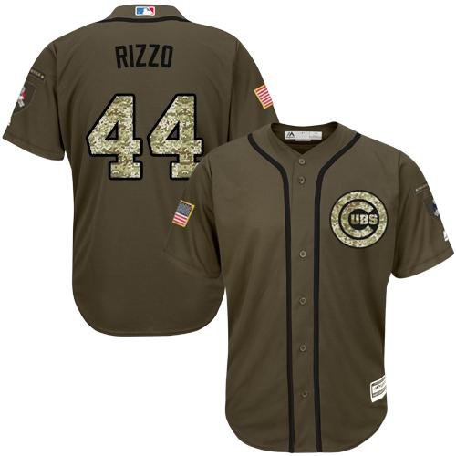 Cubs #44 Anthony Rizzo Green Salute to Service Stitched MLB Jersey