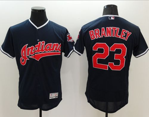 Indians #23 Michael Brantley Navy Blue Flexbase Authentic Collection Stitched MLB Jersey