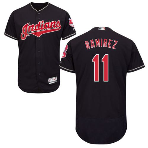 Indians #11 Jose Ramirez Navy Blue Flexbase Authentic Collection Stitched MLB Jersey