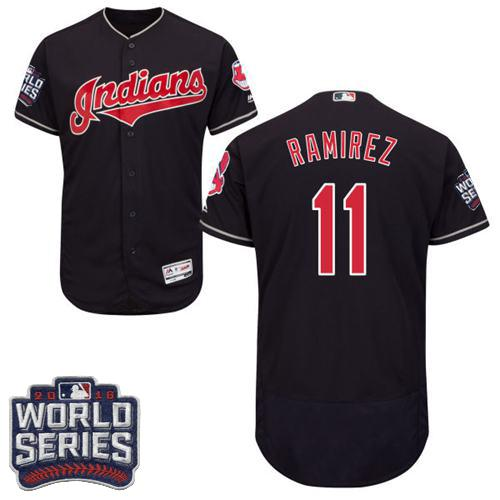 Indians #11 Jose Ramirez Navy Blue Flexbase Authentic Collection 2016 World Series Bound Stitched MLB Jersey