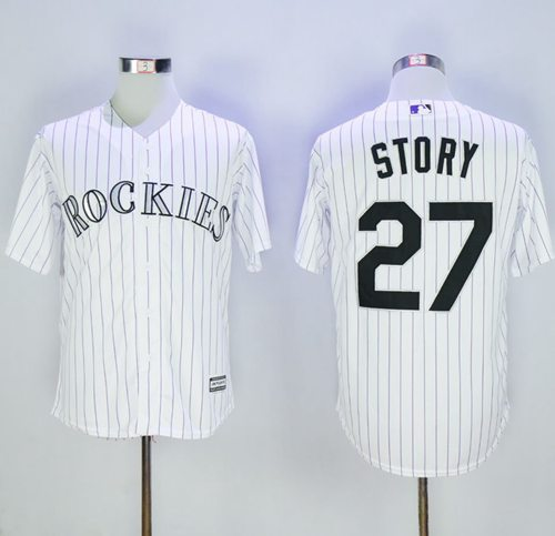 Rockies #27 Trevor Story White Strip New Cool Base Stitched MLB Jersey