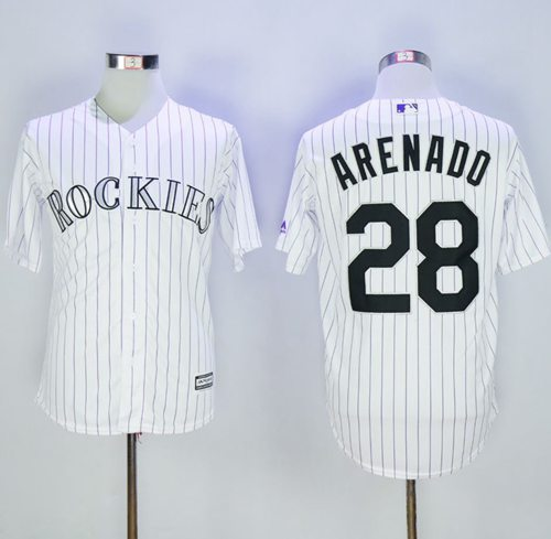 Rockies #28 Nolan Arenado White Strip New Cool Base Stitched MLB Jersey