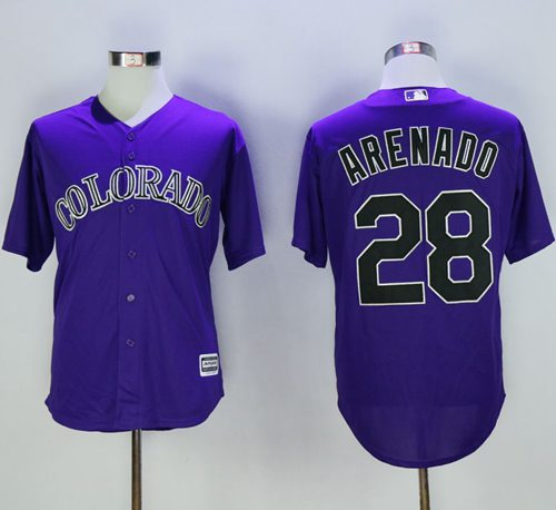 Rockies #28 Nolan Arenado Purple New Cool Base Stitched MLB Jersey