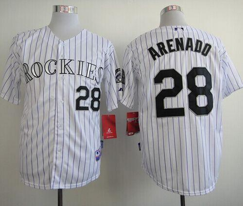 Rockies #28 Nolan Arenado White Cool Base Stitched MLB Jersey