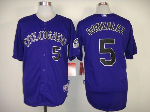 Rockies #5 Carlos Gonzalez Purple Cool Base Stitched MLB Jersey