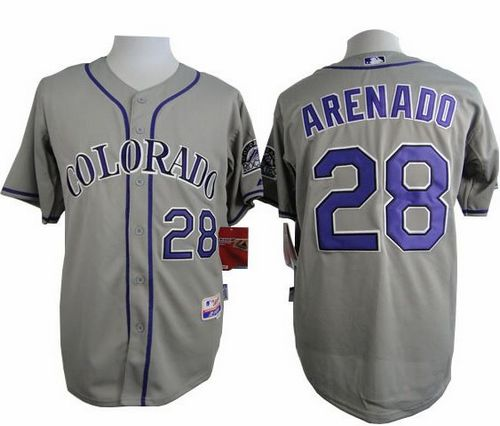Rockies #28 Nolan Arenado Grey Cool Base Stitched MLB Jersey
