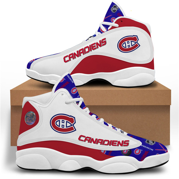Women's Montreal Canadiens AJ13 Series High Top Leather Sneakers 001