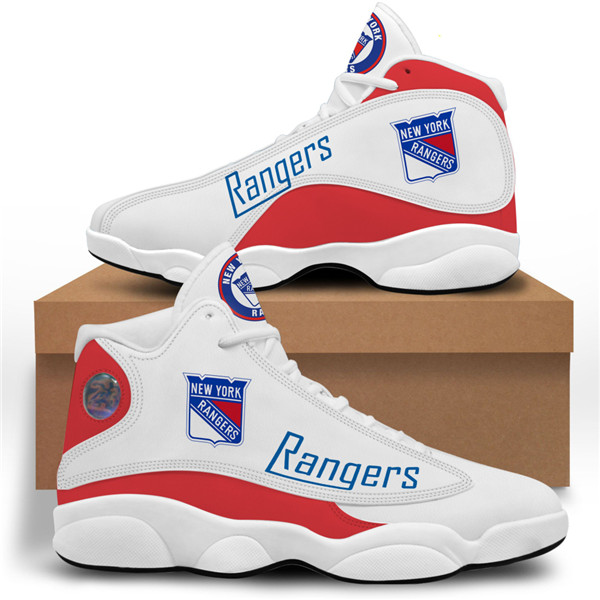 Women's New York Rangers AJ13 Series High Top Leather Sneakers 001