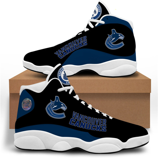 Women's Vancouver Canucks AJ13 Series High Top Leather Sneakers 001